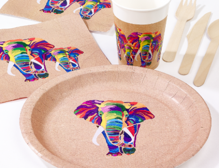 elephant themed partyware