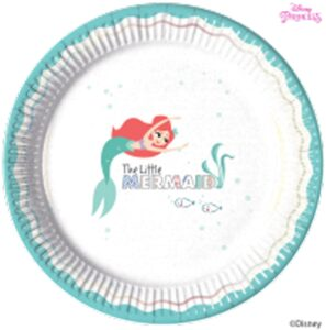 round paper plates featuring Ariel with a turquoise border